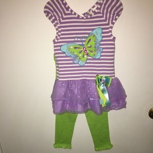 Rare Editions butterfly top & pants set, 3T
